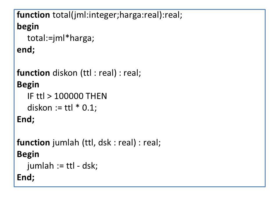 function total(jml:integer;harga:real):real; begin total:=jml*harga; end; function diskon (ttl : real) : real; Begin IF ttl > 100000 THEN diskon := tt