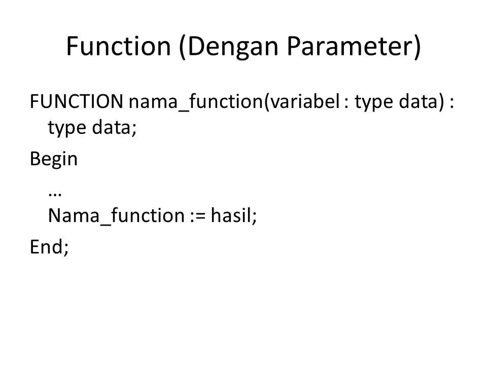 Function (Tanpa Parameter) Begin ShowMessage (FloatToStr(nilai)); end; Function nilai:real; begin nilai:=1000; End;