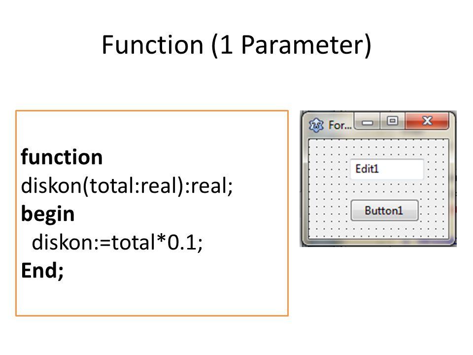 Function (1 Parameter) var diskonnya, total : real; begin total := StrToFloat(edit1.Text); diskonnya := diskon(total); ShowMessage (FloatToStr(diskonnya)); end;