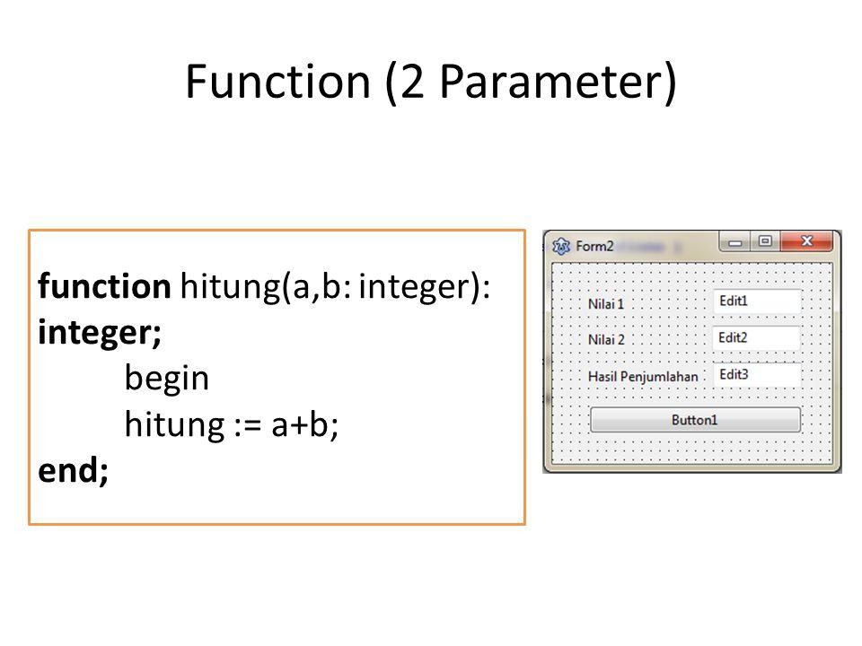 Procedure PROCEDURE kuadrat (nilai : integer); var hasil : integer; Begin hasil := nilai * nilai; ShowMessage (IntToStr(hasil)); End; var angka:integer; begin angka := StrToInt(edit1.text); kuadrat(angka); end;