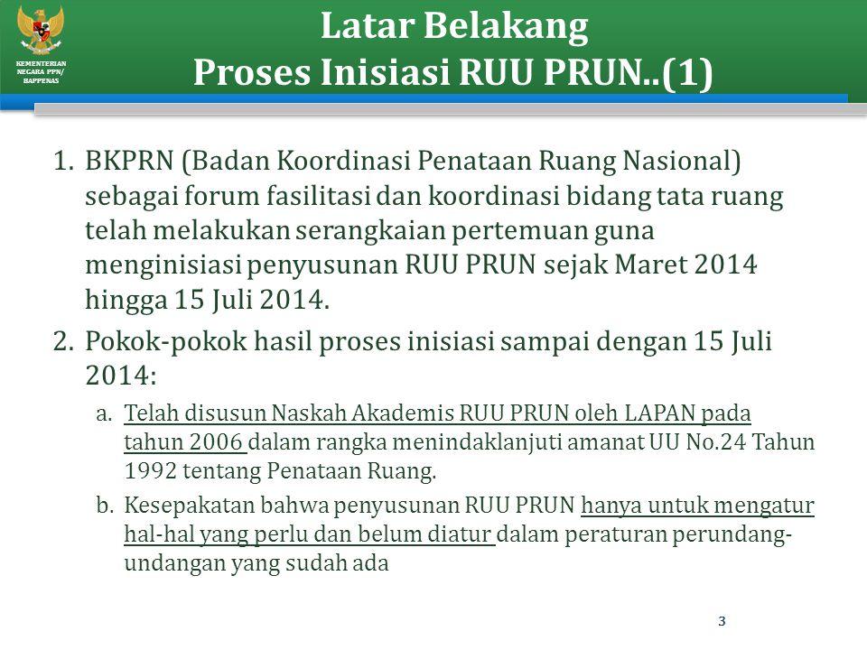 KEMENTERIAN NEGARA PPN/ BAPPENAS Latar Belakang Proses Inisiasi RUU PRUN..(1) 1.BKPRN (Badan Koordinasi Penataan Ruang Nasional) sebagai forum fasilit