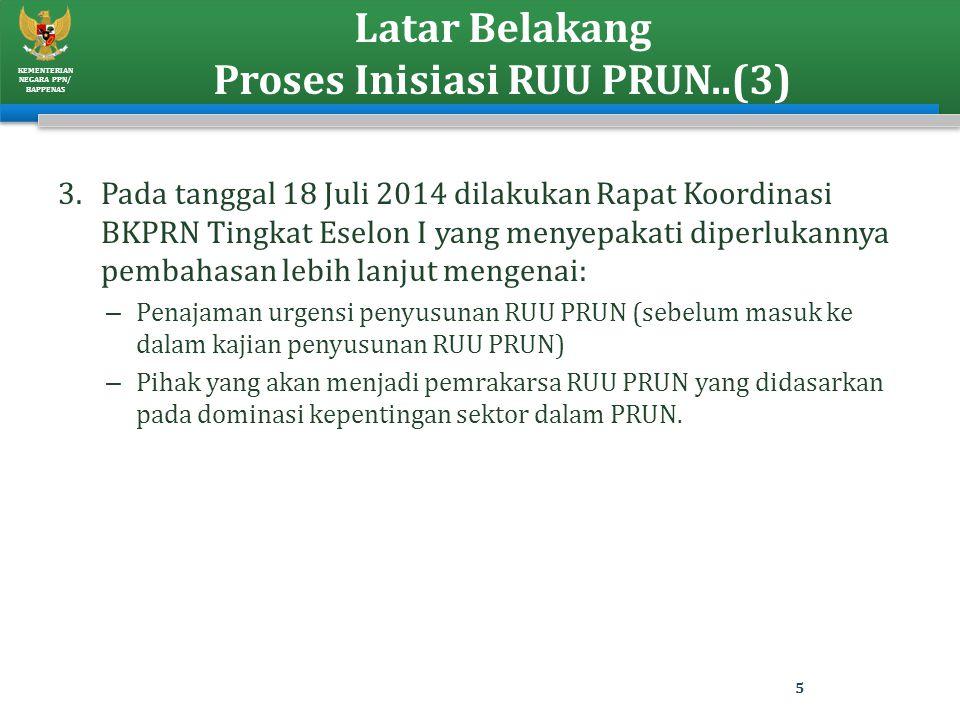 KEMENTERIAN NEGARA PPN/ BAPPENAS Latar Belakang Proses Inisiasi RUU PRUN..(3) 3.Pada tanggal 18 Juli 2014 dilakukan Rapat Koordinasi BKPRN Tingkat Ese