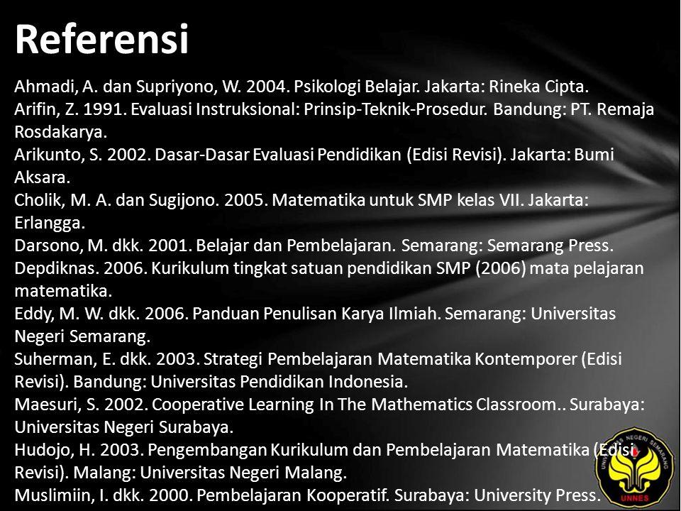 Referensi Ahmadi, A. dan Supriyono, W. 2004. Psikologi Belajar.