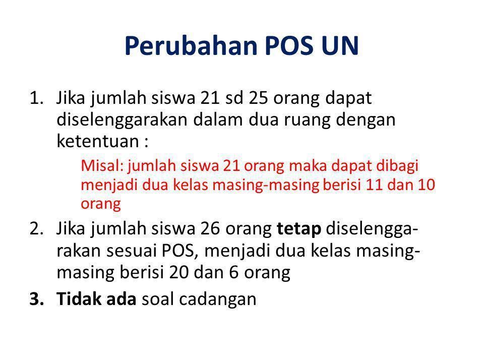 Perubahan POS UN 1.Jika jumlah siswa 21 sd 25 orang dapat diselenggarakan dalam dua ruang dengan ketentuan : Misal: jumlah siswa 21 orang maka dapat d