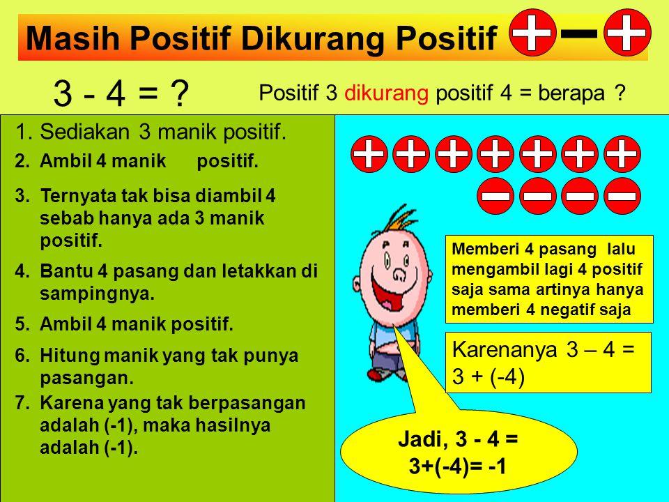 Positif Dikurang Positif 4 - 2 = ? Positif 4 dikurang positif 2 = berapa ? 2 1.Sediakan 4 manik positif. 2.Ambil 2 manik positif. 3.Hitung manik yang