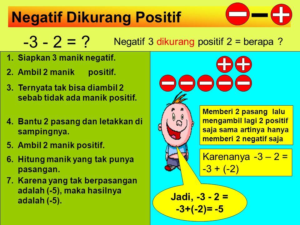Masih Positif Dikurang Positif 3 - 4 = ? Positif 3 dikurang positif 4 = berapa ? 1.Sediakan 3 manik positif. 2.Ambil 4 manik positif. 4.Bantu 4 pasang