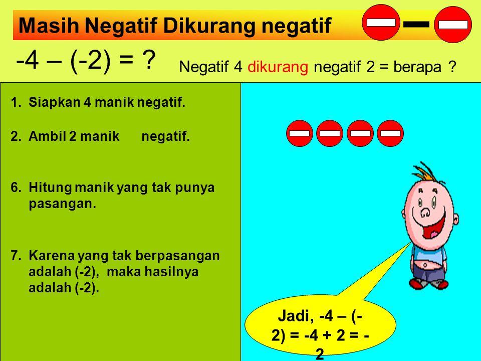 Negatif Dikurang negatif -2 – (-3) = ? Negatif 2 dikurang negatif 3 = berapa ? 1.Siapkan 2 manik negatif. 2.Ambil 3 manik negatif. 4.Bantu 3 pasang da