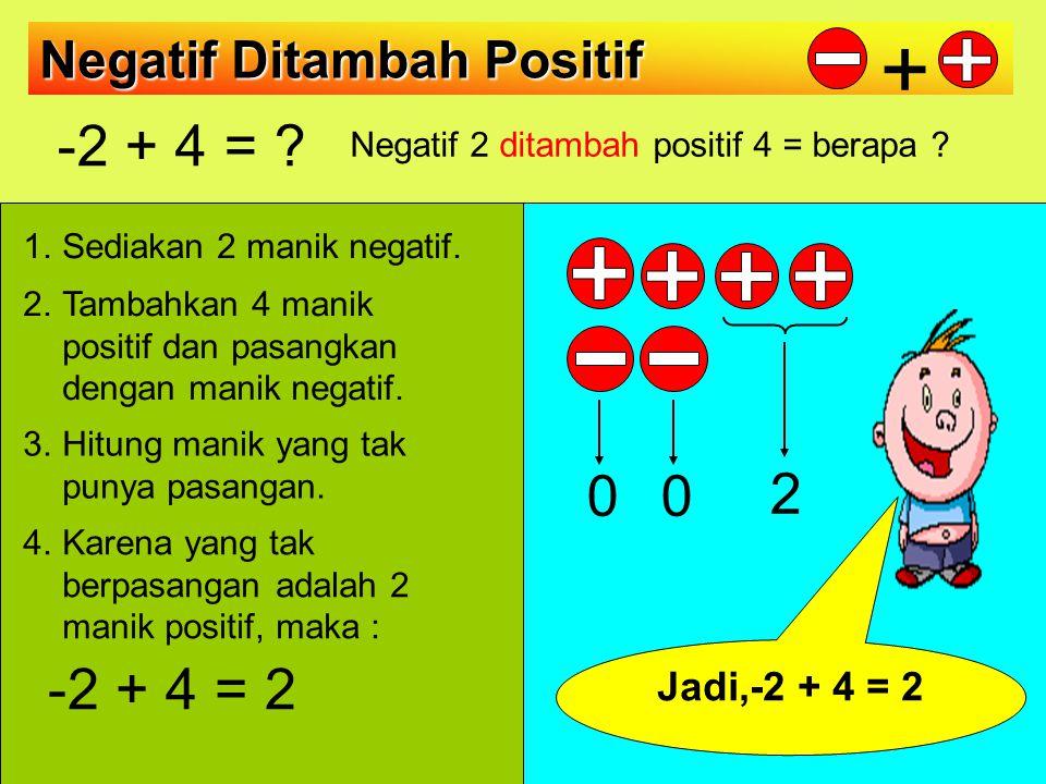 OPERASI KURANG ( menambah lawan pengurangnya) Positif - positif =positif + negatif 8 – 12 = 8 + (-12) = [8 +(-8)] +(-4) = -4 Negatif - negatif = negatif + positif -8 – (-12)= -8 + 12 = [-8+8] + 4 = 4 Positif - negatif = positif + positif 18 – (-12) = 18 + 12 = 30 Negatif – positif = negatif + negatif -18 – 12 = -18 + (-12)= -30