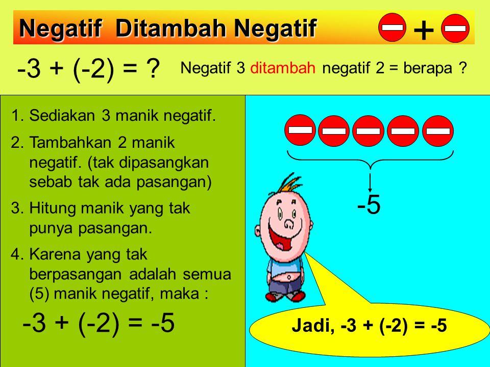 Positif Ditambah Negatif + 2 + (-6) = ? Positif 2 ditambah negatif 6 = berapa ? -4 1.Sediakan 2 manik positif. 2.Tambahkan 6 manik negatif dan pasangk