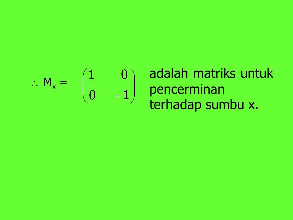  M x = adalah matriks untuk pencerminan terhadap sumbu x.