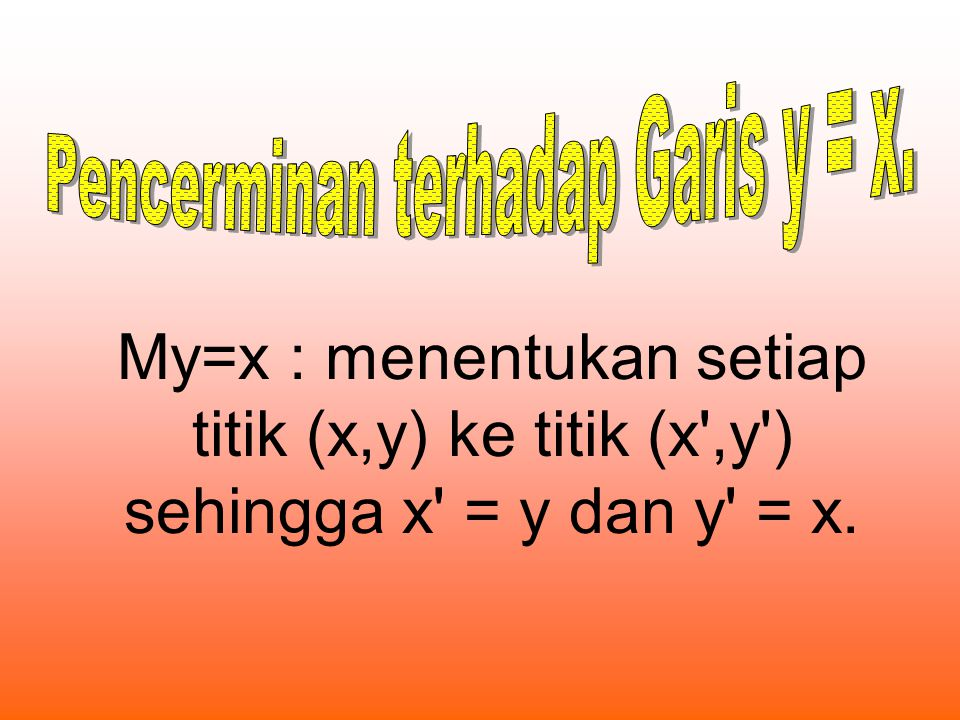 My=x : menentukan setiap titik (x,y) ke titik (x',y') sehingga x' = y dan y' = x.