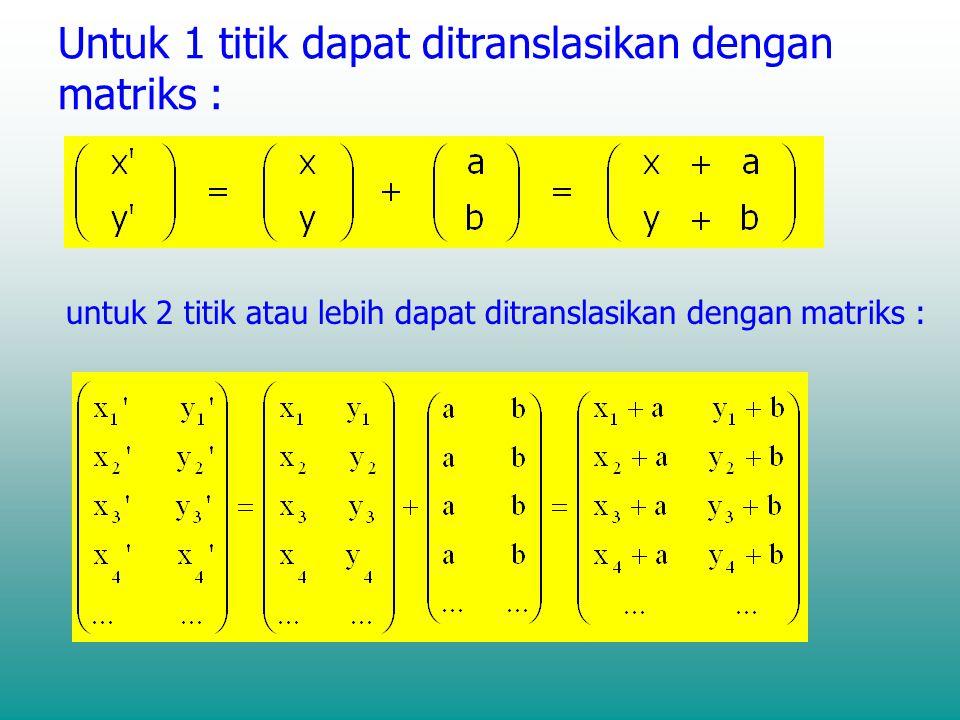 Untuk 1 titik dapat ditranslasikan dengan matriks : untuk 2 titik atau lebih dapat ditranslasikan dengan matriks :