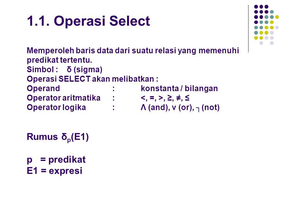 1.1.Operasi Select Memperoleh baris data dari suatu relasi yang memenuhi predikat tertentu.