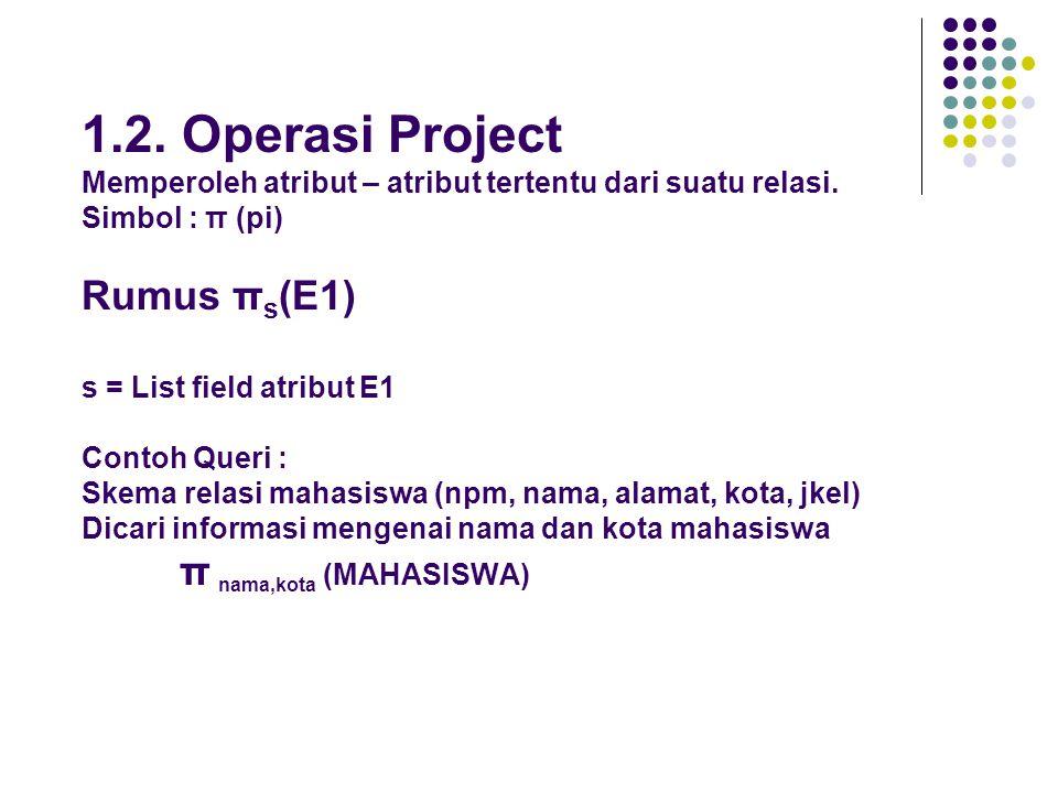 1.2.Operasi Project Memperoleh atribut – atribut tertentu dari suatu relasi.