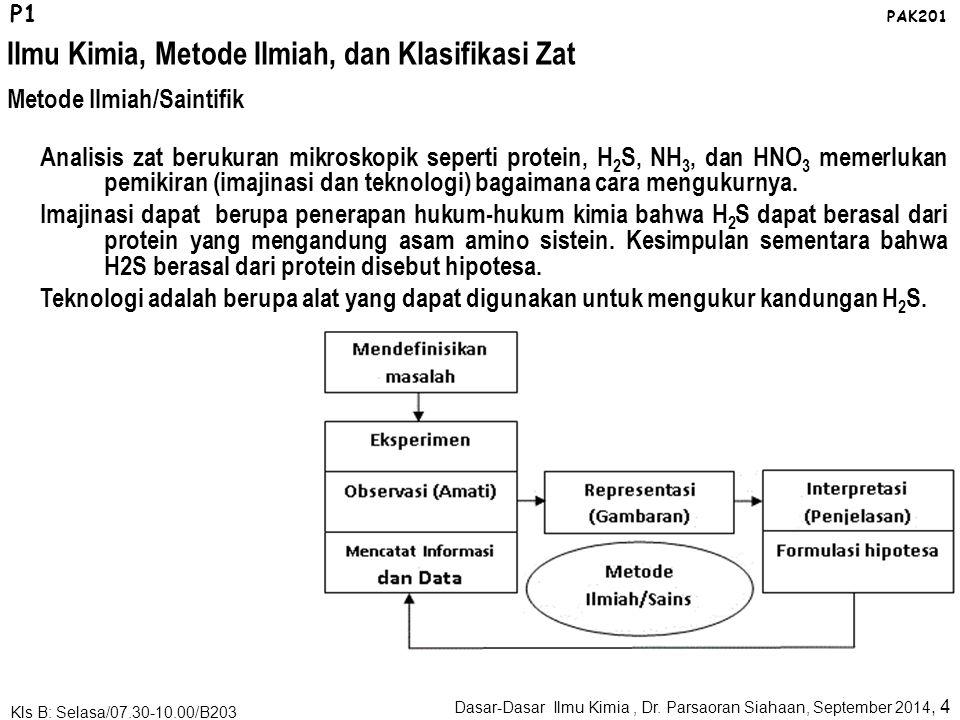 Ilmu Kimia, Metode Ilmiah, dan Klasifikasi Zat Dasar-Dasar Ilmu Kimia, Dr. Parsaoran Siahaan, September 2014, 3 Kls B: Selasa/07.30-10.00/B203 P1 PAK2