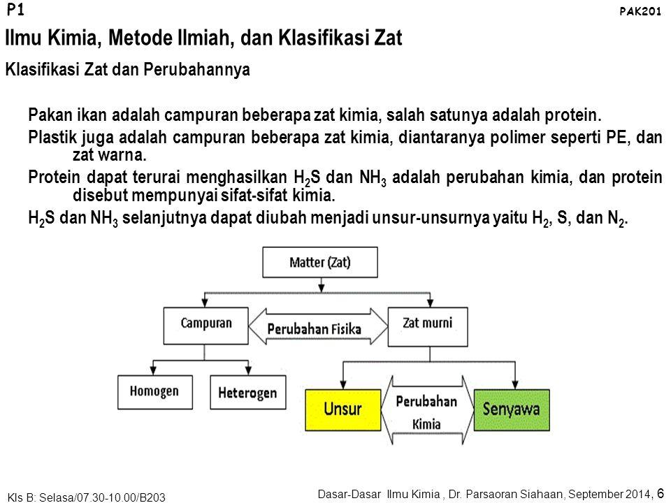 Ilmu Kimia, Metode Ilmiah, dan Klasifikasi Zat Dasar-Dasar Ilmu Kimia, Dr. Parsaoran Siahaan, September 2014, 5 Kls B: Selasa/07.30-10.00/B203 P1 PAK2