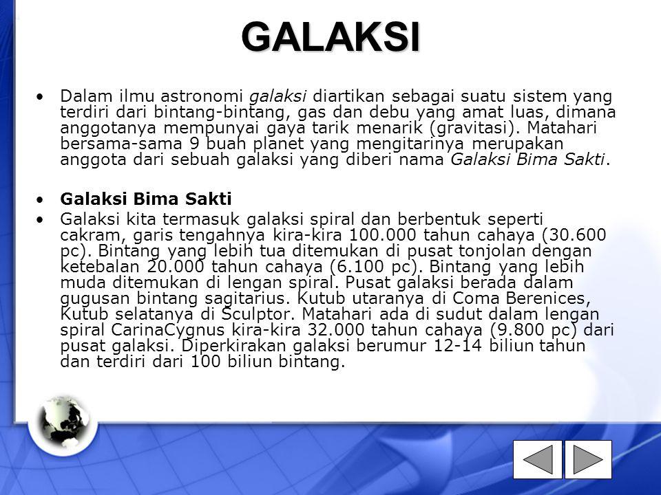 GALAKSI Dalam ilmu astronomi galaksi diartikan sebagai suatu sistem yang terdiri dari bintang-bintang, gas dan debu yang amat luas, dimana anggotanya