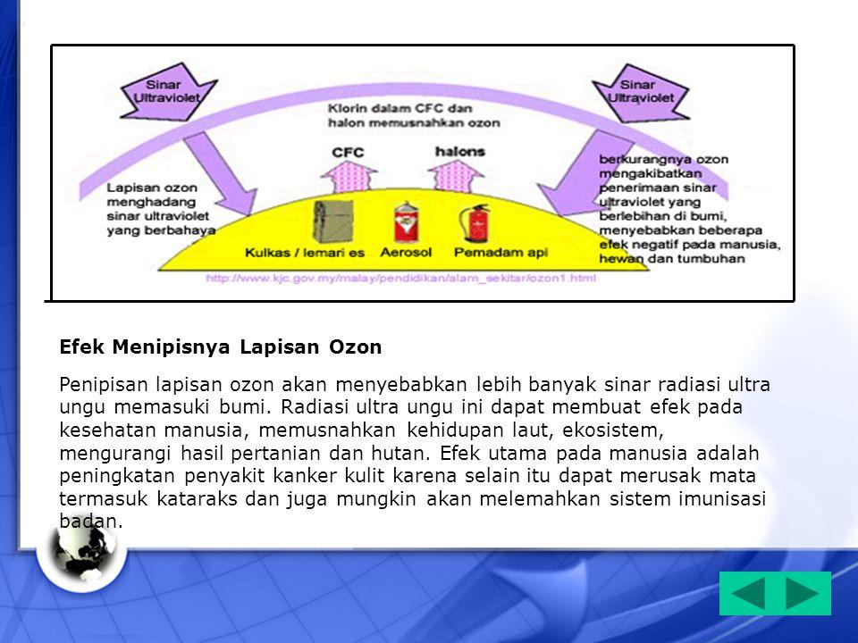 Efek Menipisnya Lapisan Ozon Penipisan lapisan ozon akan menyebabkan lebih banyak sinar radiasi ultra ungu memasuki bumi. Radiasi ultra ungu ini dapat