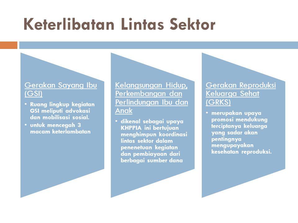 Keterlibatan Lintas Sektor Gerakan Sayang Ibu (GSI) Ruang lingkup kegiatan GSI meliputi advokasi dan mobilisasi sosial. untuk mencegah 3 macam keterla