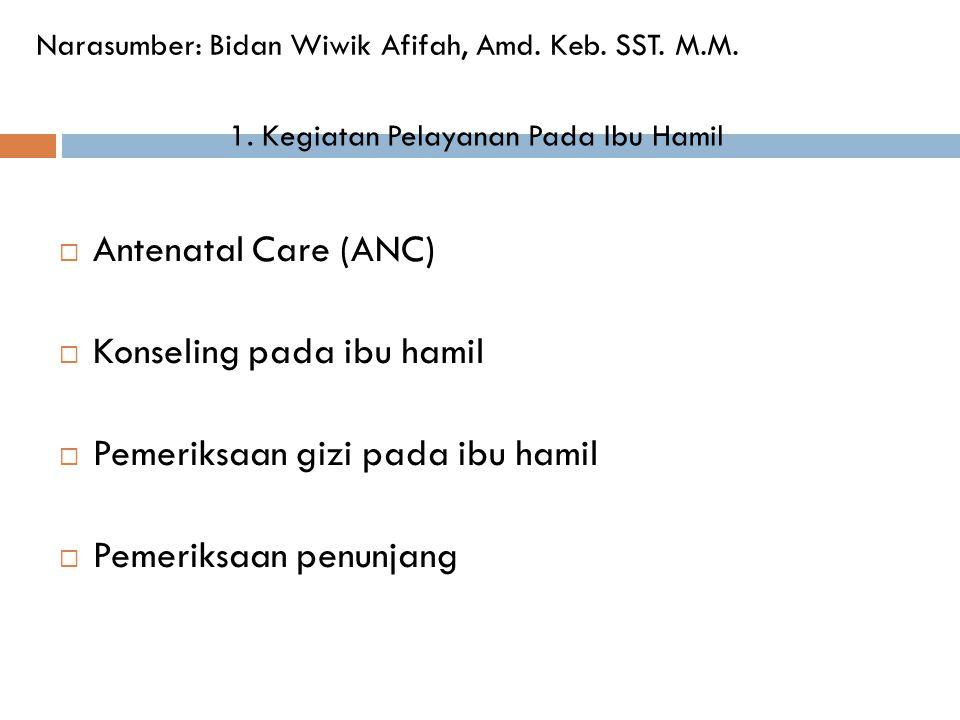  Antenatal Care (ANC)  Konseling pada ibu hamil  Pemeriksaan gizi pada ibu hamil  Pemeriksaan penunjang Narasumber: Bidan Wiwik Afifah, Amd. Keb.