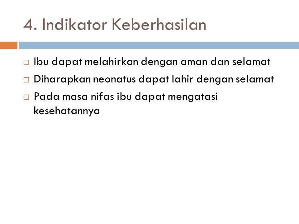 4. Indikator Keberhasilan  Ibu dapat melahirkan dengan aman dan selamat  Diharapkan neonatus dapat lahir dengan selamat  Pada masa nifas ibu dapat