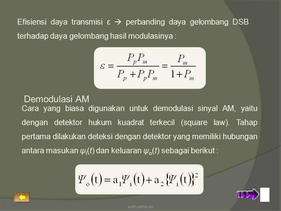 Efisiensi daya transmisi ε  perbanding daya gelombang DSB terhadap daya gelombang hasil modulasinya : Cara yang biasa digunakan untuk demodulasi sinyal AM, yaitu dengan detektor hukum kuadrat terkecil (square law).