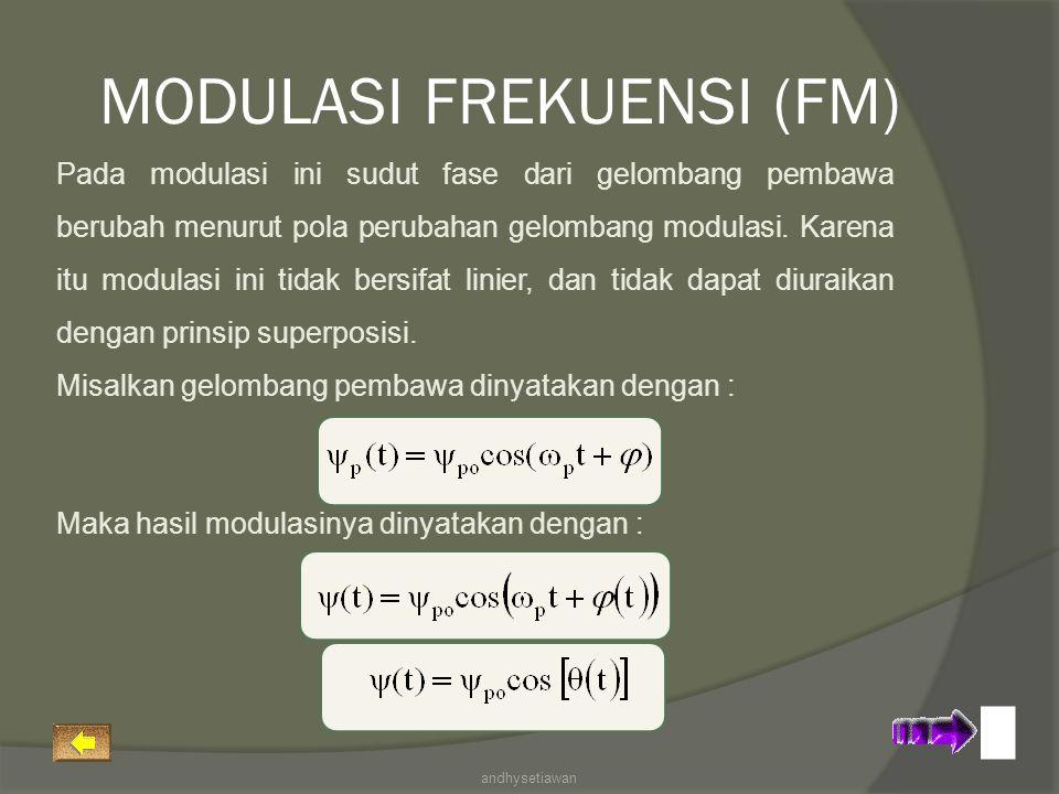 Pada modulasi ini sudut fase dari gelombang pembawa berubah menurut pola perubahan gelombang modulasi. Karena itu modulasi ini tidak bersifat linier,