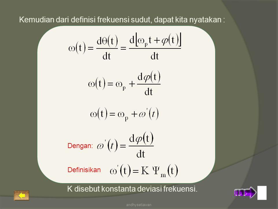 Kemudian dari definisi frekuensi sudut, dapat kita nyatakan : Dengan: Definisikan K disebut konstanta deviasi frekuensi. andhysetiawan