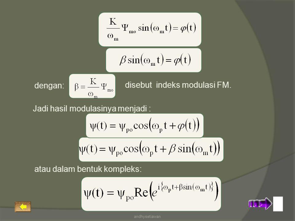 disebut indeks modulasi FM. dengan: Jadi hasil modulasinya menjadi : atau dalam bentuk kompleks: andhysetiawan