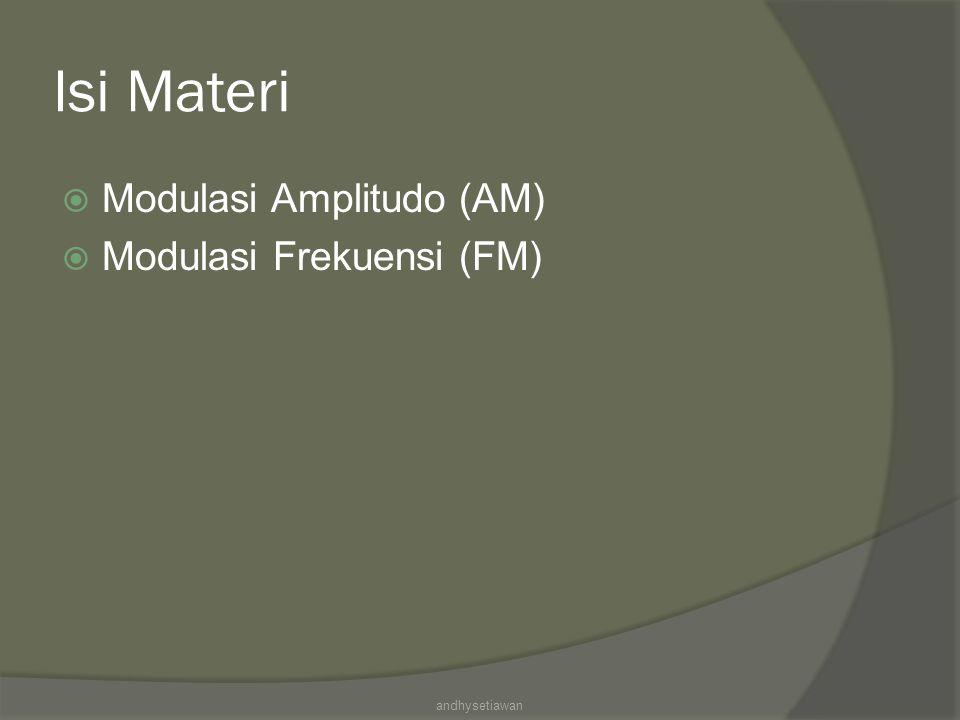 Isi Materi  Modulasi Amplitudo (AM)  Modulasi Frekuensi (FM) andhysetiawan