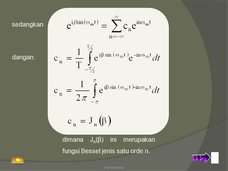 sedangkan dangan: dimana J n (β) ini merupakan fungsi Bessel jenis satu orde n. andhysetiawan