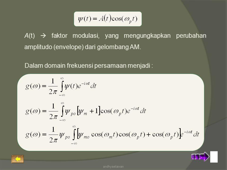 A(t)  faktor modulasi, yang mengungkapkan perubahan amplitudo (envelope) dari gelombang AM. Dalam domain frekuensi persamaan menjadi : andhysetiawan