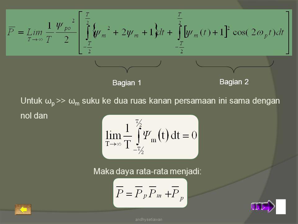 Bagian 1 Bagian 2 Untuk ω p >> ω m suku ke dua ruas kanan persamaan ini sama dengan nol dan Maka daya rata-rata menjadi: andhysetiawan