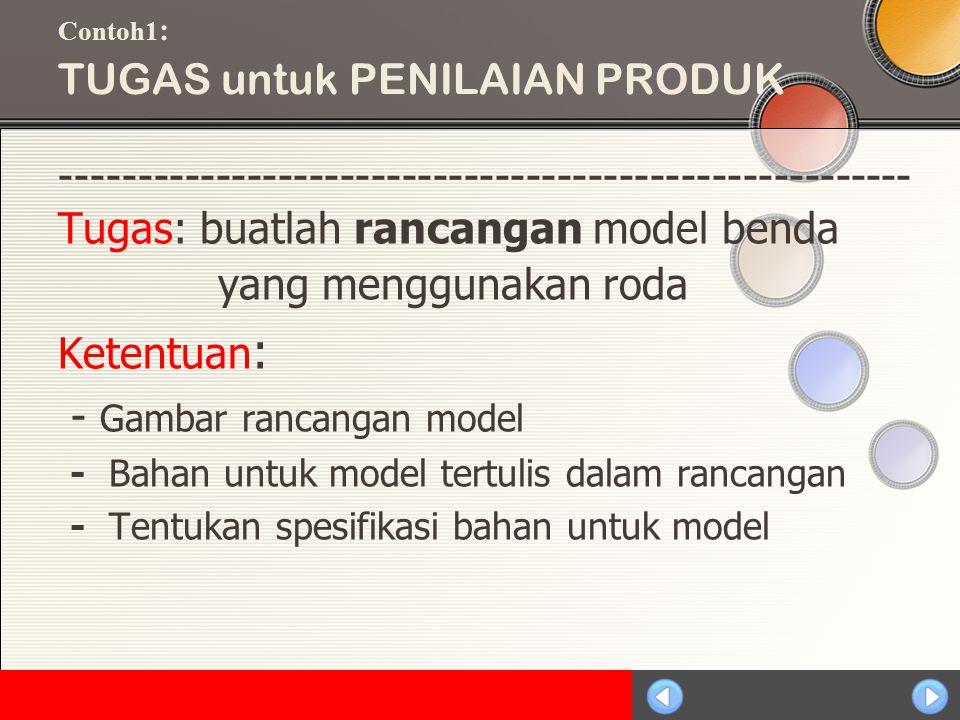 Sosialisasi KTSP Contoh1 : TUGAS untuk PENILAIAN PRODUK ------------------------------------------------------- Tugas: buatlah rancangan model benda yang menggunakan roda Ketentuan : - Gambar rancangan model - Bahan untuk model tertulis dalam rancangan - Tentukan spesifikasi bahan untuk model