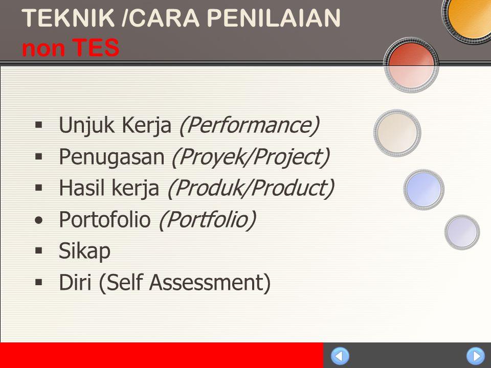 Sosialisasi KTSP TEKNIK /CARA PENILAIAN non TES  Unjuk Kerja (Performance)  Penugasan (Proyek/Project)  Hasil kerja (Produk/Product) Portofolio (Portfolio)  Sikap  Diri (Self Assessment)