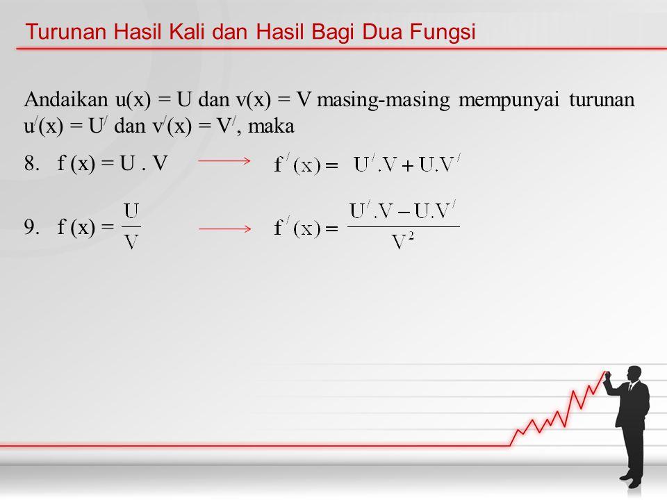 Turunan Hasil Kali dan Hasil Bagi Dua Fungsi Andaikan u(x) = U dan v(x) = V masing-masing mempunyai turunan u / (x) = U / dan v / (x) = V /, maka 8.