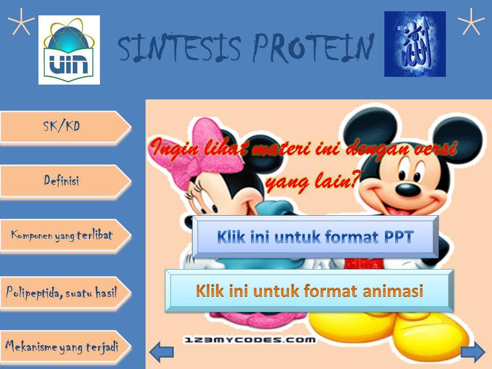 SINTESIS PROTEIN Definisi Komponen yang terlibat SK/KD Polipeptida, suatu hasil Mekanisme yang terjadi