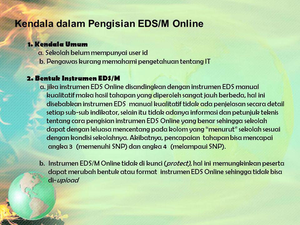 LK 2. Kajian Implementasi EDS/M Online Jumlah Sasaran EDS/M yang terupload ke DAPODIK adalah 921 Sekolah = 93,12 % Catatan Hasil Verifikasi EDS Online