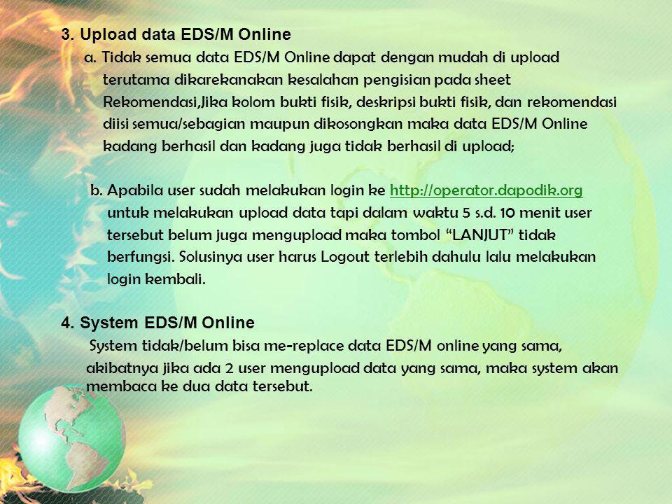 Kendala dalam Pengisian EDS/M Online 1. Kendala Umum a. Sekolah belum mempunyai user id b. Pengawas kurang memahami pengetahuan tentang IT 2. Bentuk I