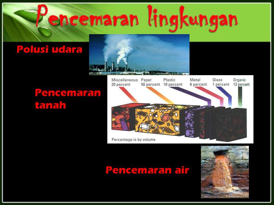 Polusi udara Pencemaran tanah Pencemaran air