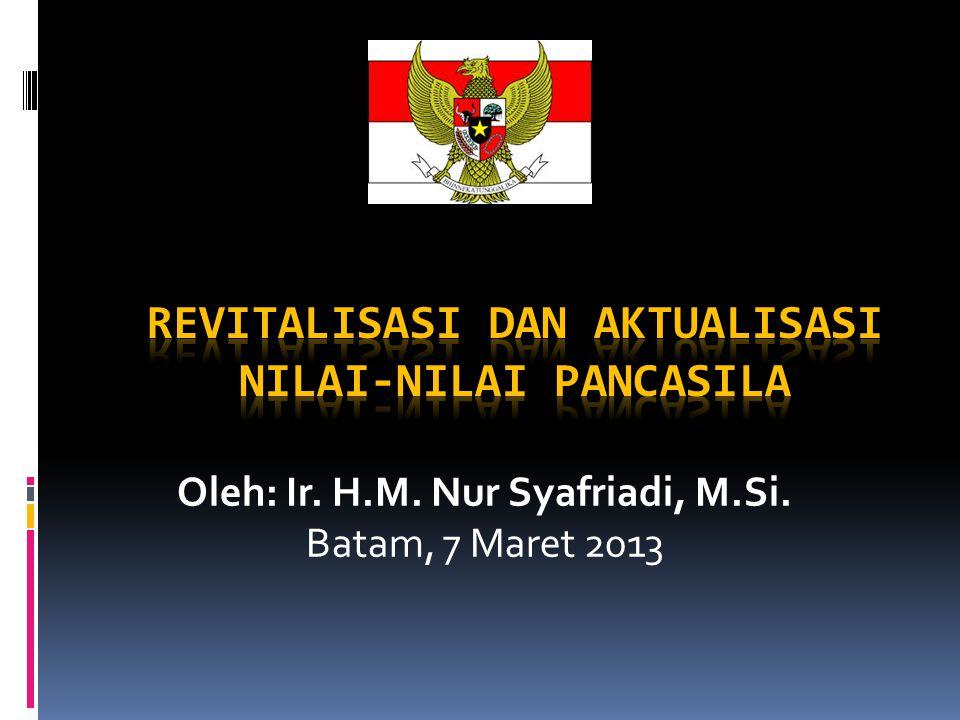 Sejak reformasi bergulir, nilai-nilai Pancasila mulai mengendur dan nilai- nilai kebangsaan pun kian menurun.