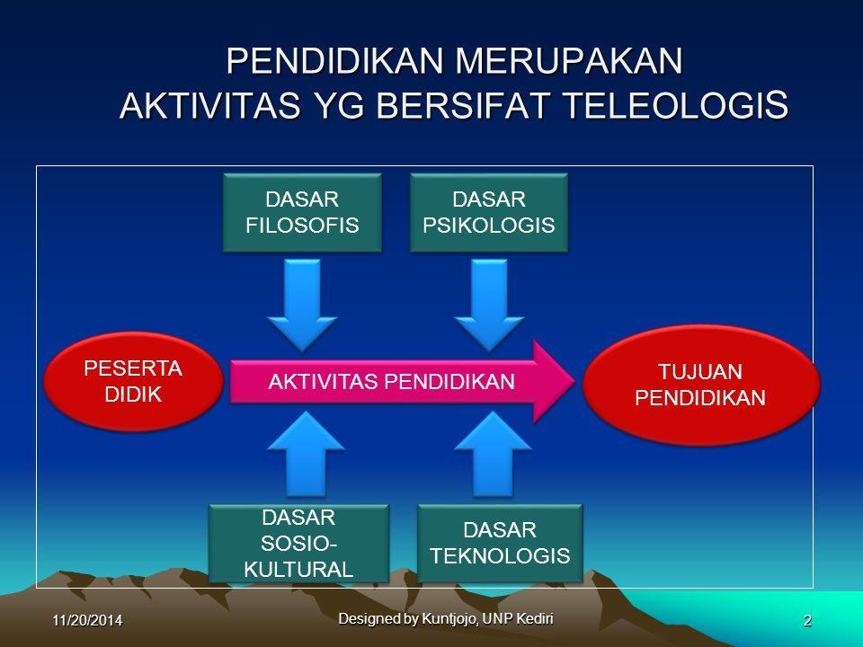 PENDIDIKAN MERUPAKAN AKTIVITAS YG BERSIFAT TELEOLOGI S 11/20/2014 Designed by Kuntjojo, UNP Kediri 2 PESERTA DIDIK PESERTA DIDIK TUJUAN PENDIDIKAN TUJ