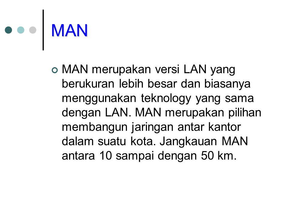 MAN MAN merupakan versi LAN yang berukuran lebih besar dan biasanya menggunakan teknology yang sama dengan LAN. MAN merupakan pilihan membangun jaring