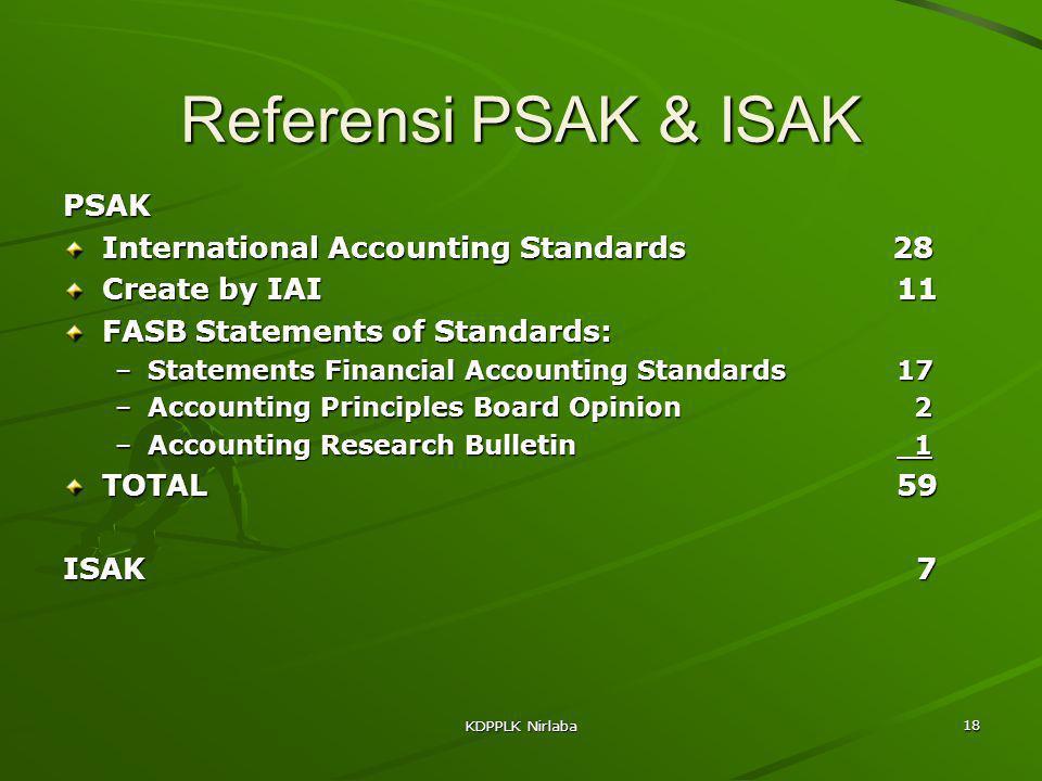 KDPPLK Nirlaba 18 Referensi PSAK & ISAK PSAK International Accounting Standards 28 Create by IAI11 FASB Statements of Standards: –Statements Financial