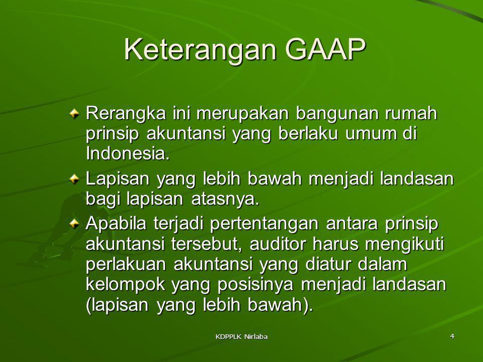 KDPPLK Nirlaba 4 Keterangan GAAP Rerangka ini merupakan bangunan rumah prinsip akuntansi yang berlaku umum di Indonesia. Lapisan yang lebih bawah menj