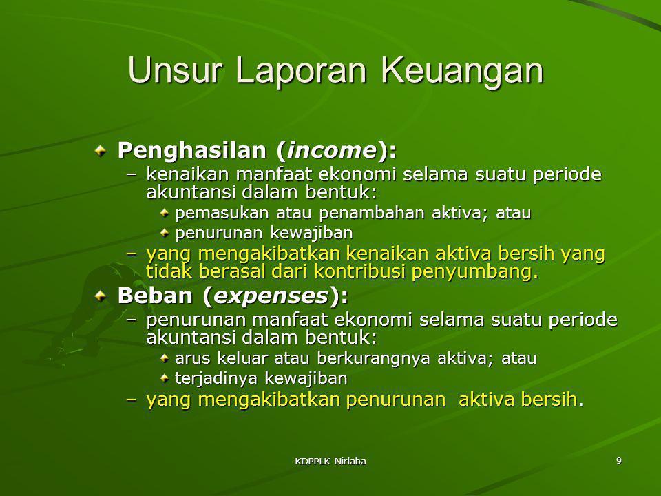 KDPPLK Nirlaba 9 Unsur Laporan Keuangan Penghasilan (income): –kenaikan manfaat ekonomi selama suatu periode akuntansi dalam bentuk: pemasukan atau pe