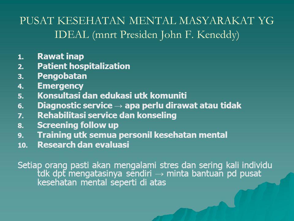 PUSAT KESEHATAN MENTAL MASYARAKAT YG IDEAL (mnrt Presiden John F. Keneddy) 1. 1. Rawat inap 2. 2. Patient hospitalization 3. 3. Pengobatan 4. 4. Emerg