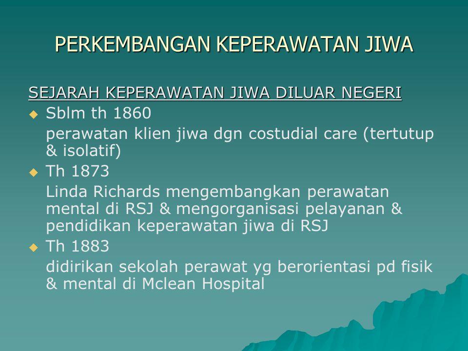 PERKEMBANGAN KEPERAWATAN JIWA SEJARAH KEPERAWATAN JIWA DILUAR NEGERI   Sblm th 1860 perawatan klien jiwa dgn costudial care (tertutup & isolatif) 