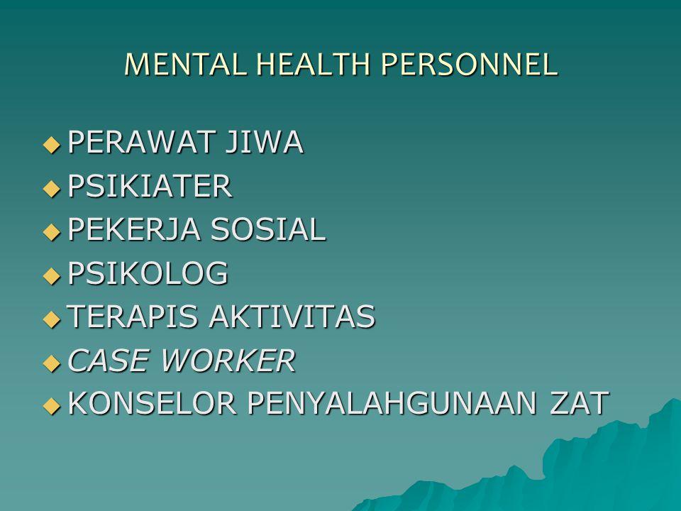 MENTAL HEALTH PERSONNEL  PERAWAT JIWA  PSIKIATER  PEKERJA SOSIAL  PSIKOLOG  TERAPIS AKTIVITAS  CASE WORKER  KONSELOR PENYALAHGUNAAN ZAT