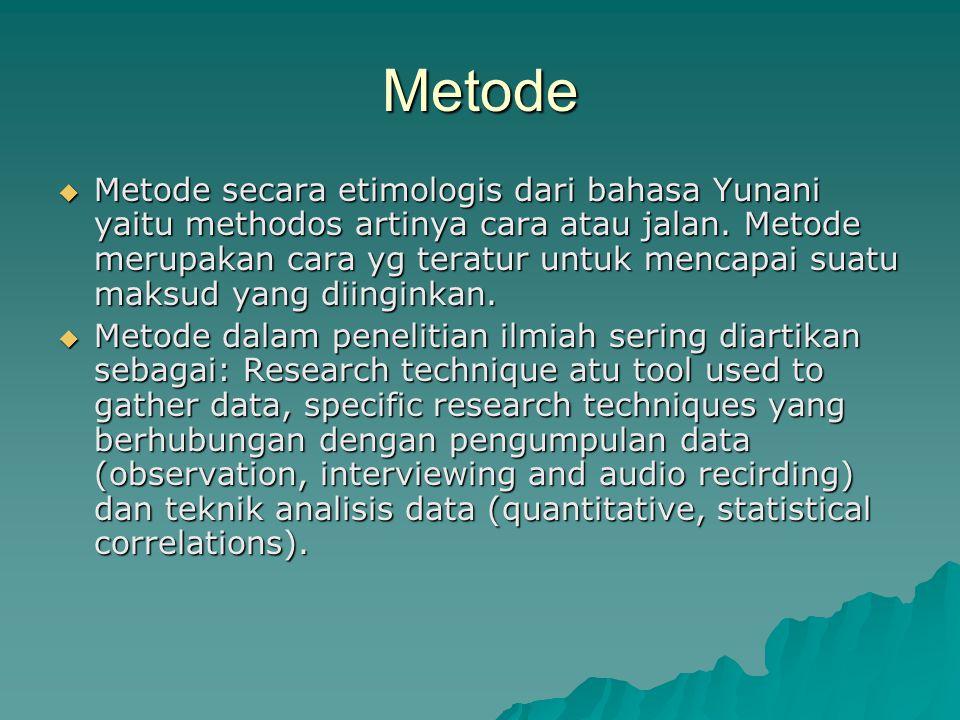Metode  Metode secara etimologis dari bahasa Yunani yaitu methodos artinya cara atau jalan.